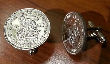 1939-45 Silver British Lion atop Crown Vintage WWII English Coin Cufflinks + Box