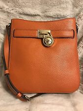 NWT MICHAEL KORS PEBBLED LEATHER HAMILTON TRAVELER CROSSBODY BAG IN TANGERINE