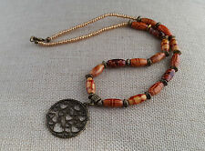 Wooden bead necklace with bronze disc pendant - 100684 - hippy boho