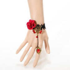 Women's Gothic Retro Vintage Black Lace Bracelet Ring Set with Red Rose