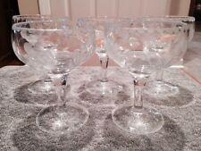 Vintage Set Of 5 Sherbet Etched Glassware