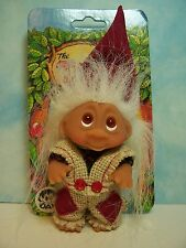 "1985 CHRISTMAS FOREST Boy - 3"" Dam Norfin Troll Doll - NEW ON CARD - Last Ones"