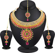 Spargz Flower Style Kempu AD Stone Gold Plated Necklace Set Party Wear AINS 156