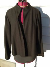 Eileen Fisher Black 100% Wool Open Front Cardigan Sweater - Small