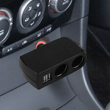 2 USB Port 2 Socket Adapter Splitter Charger 12V/24V Car Cigarette Lighter UF