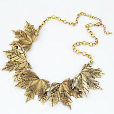 Fashion Women Vintage Maple Leaves Statement Bib Pendant Choker Necklace Collar