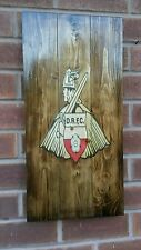 Doncaster rovers fc   sign wooden wall art , plaque , badge rustic mancave