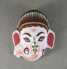 White-Painted Ganesh Paper Mache Mask Exquisite Details - Handmade in Nepal