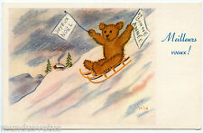 ARTIST SIGNED. OURS TEDDY. TEDDY BEAR. GLISSADE SUR LA NEIGE. SLIP ON SNOW.
