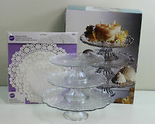 3 Tier Glass Cake Dessert Cookies Serving Stand Wedding Banquet Buffet Table