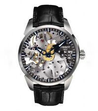 Tissot T-Complication Squelette Skeleton Dial Black Leather Mens Watch - 43mm