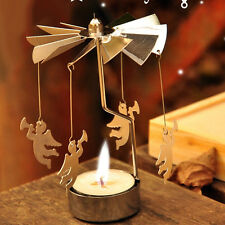 Rotary Spinning Carousel Angel Tea Light Candle Holder Table Decoration