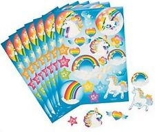 Confezione di 12-Unicorno partito fogli adesivi-Arcobaleno Party Bag Filler