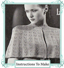 Vintage Knitting Pattern-how to make/knit a 1940s ladies evening cape or wrap
