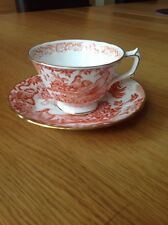ROYAL CROWN DERBY 'Red Aves' Cup & Saucer Duo, VGC c1976/79