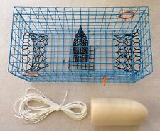 PVC Blue Commercial Grade Crab Pot / Trap With 50 Foot Line & WHITE 5x11 Float
