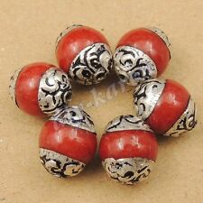 6 Beads Wholesale Handmade Nepal Red Agate White Brass Eksha NP017X6