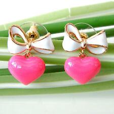 Navachi Bowknot Heart Love 18K GP Red-White Enamel Ear Stud Earrings BH2365
