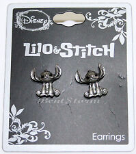 Disney Lilo and Stitch Burnished Silver Metal Pierced Stud  Earrings Jewelry NEW