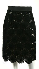DOLCE & GABBANA $1,995 NWT Black Daisy Flower Lace Pencil Skirt 48