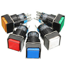 16mm DC 12V Push Button Self-Lock Switch Square LED Light Latching
