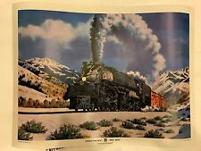 VINTAGE TRAIN UNION PACIFIC BIG BOY GOLD and POWERFUL POSTER VERY RARE!