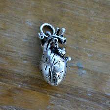 Anatomical Heart Charm Antique Silver Realistic Organ Pendant Vintage Style