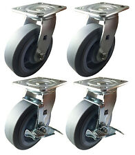 "6"" x 2"" Heavy Duty Non-Marking Rubber Wheel Caster 2 swivels & 2 with Brake"