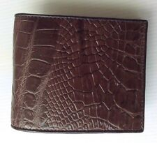 100% Genuine crocodile skin leather bifold men brown wallet