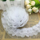 Hot 5 Yards 4-layer 55mm Wide White Pleated Trim Mesh Lace Sewing Sequin Trim
