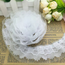 New 5 Yards 4-layer 55mm White Pleated Trim Mesh Lace Sewing Sequin Trim C#66