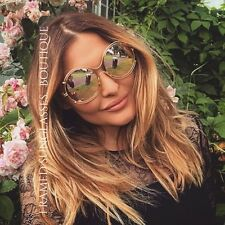 ROSE GOLD Designer CARLINA OVERSIZED Round SUNGLASSES Glam MARBS Ibiza BEACH