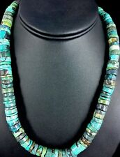 Native American Turquoise 11 mm Heishi Sterling Silver Bead  Necklace Rare