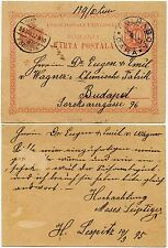 ROMANIA 1895 POSTAL STATIONERY BLUE CANCEL DOLHASCA RAILWAY STATION to WAGNER