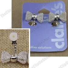 CLIP ON retro MESH METAL BOW EARRINGS silver fashion CUTE kitsch FAKE STUDS