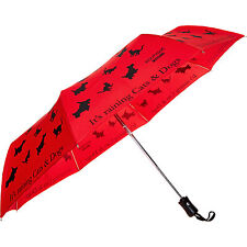 MOSCHINO Raining Cats & Dogs Print Umbrella red compact automatic designer BNWT