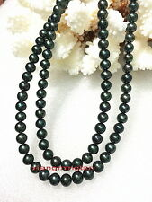 "LONG AAAAA 36""6-7mm natural real round TAHITIAN black pearl necklace 14K GOLD"