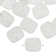 9992 Bead Acrylic White Frosted Rectangle 13mm PK25 *UK EBAY SHOP*