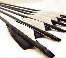 "**6x 32"" Archery hunter Nocks Fletched Arrows Carbon Target Practice Arrow W Tip"
