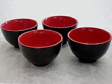 Set of (4) Chinese Asian Stoneware RICE BOWLS Black & Red NEW in Original Box