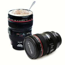 1PCS Useful Black Travel Coffee Mug Cup Tea Stainless Lens Camera Cup 24-105mm