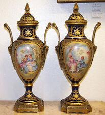 Antique French Ormolu-Mounts Sèvres Style Pair of Porcelain Vases Circa 1860s