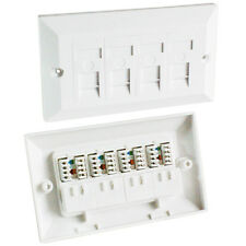 QUAD CAT5e DATA WALL OUTLET FACE PLATE - 4 PORT RJ45 ETHERNET NETWORK SOCKET