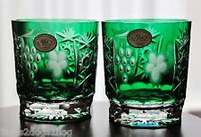 2 Ajka Marsala Emerald Green Cut to Clear Cased Crystal DOF Whiskey Glasses New