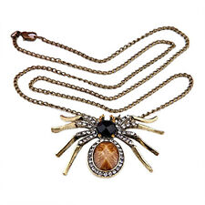 Metal Crystal Rhinestone Spider Pendant Necklace Chain CP