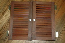 "TEAK BOAT STORAGE CABINET DOOR PAIR 16"" X  9"" for each"