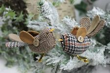 GISELA GRAHAM CHRISTMAS PLAID FABRIC CLIP ON BIRD DECORATION X 2