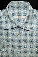 Prada Made in Italy Men's Short Sleeve Button Front Shirt Blue Geo Size 15 38cm