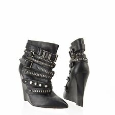 L.A.M.B Thacker Womens Black Leather Strappy Ankle Wedge Boots Sz 7.5 M NEW $495