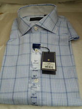 Men's HARDY AMIES  of Saville Row London Long-sleeved Blue Check Shirt - Size 16